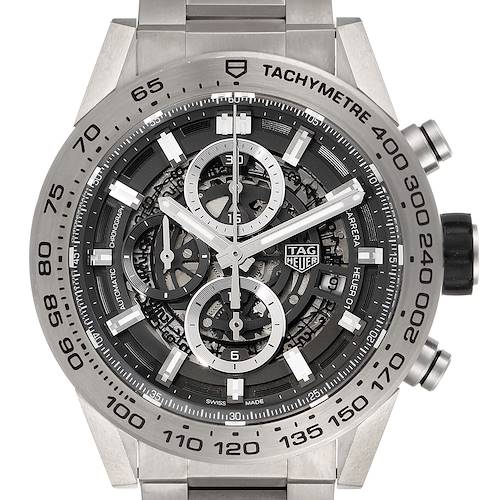 Photo of TAG Heuer Carrera Calibre Heuer 01 Skeleton Mens Watch CAR2A8A Box Card