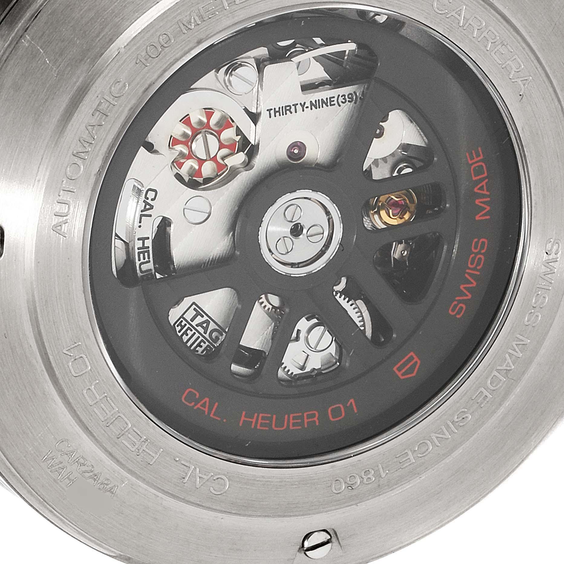 TAG Heuer Carrera Calibre Heuer 01 Skeleton Mens Watch CAR2A8A Box Card SwissWatchExpo