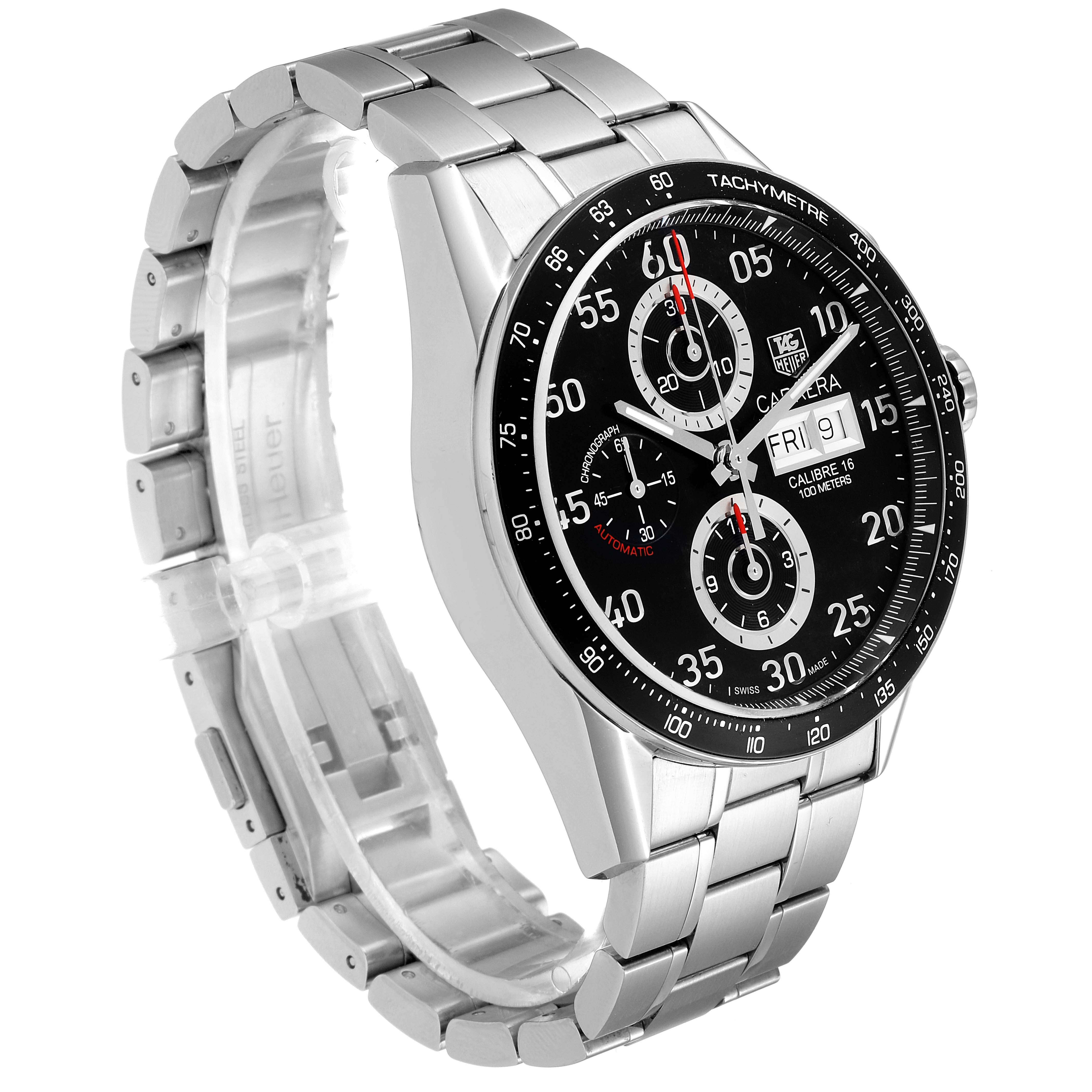 Tag Heuer Carrera Day Date Chronograph Steel Mens Watch CV2A10 Box Card SwissWatchExpo
