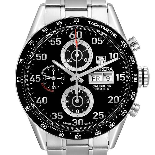 Photo of Tag Heuer Carrera Day Date Chronograph Steel Mens Watch CV2A10 Box Card