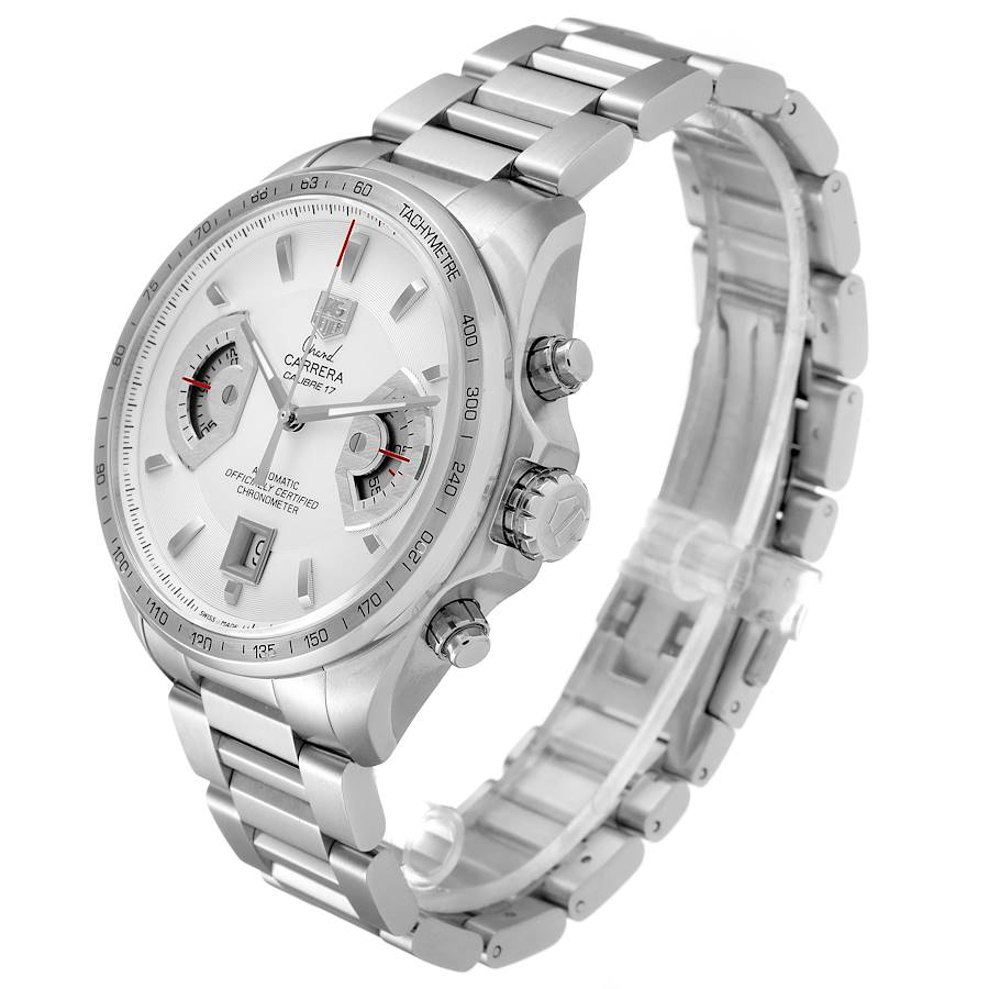 Tag Heuer Grand Carrera Silver Dial Mens Watch CAV511B Box Papers SwissWatchExpo