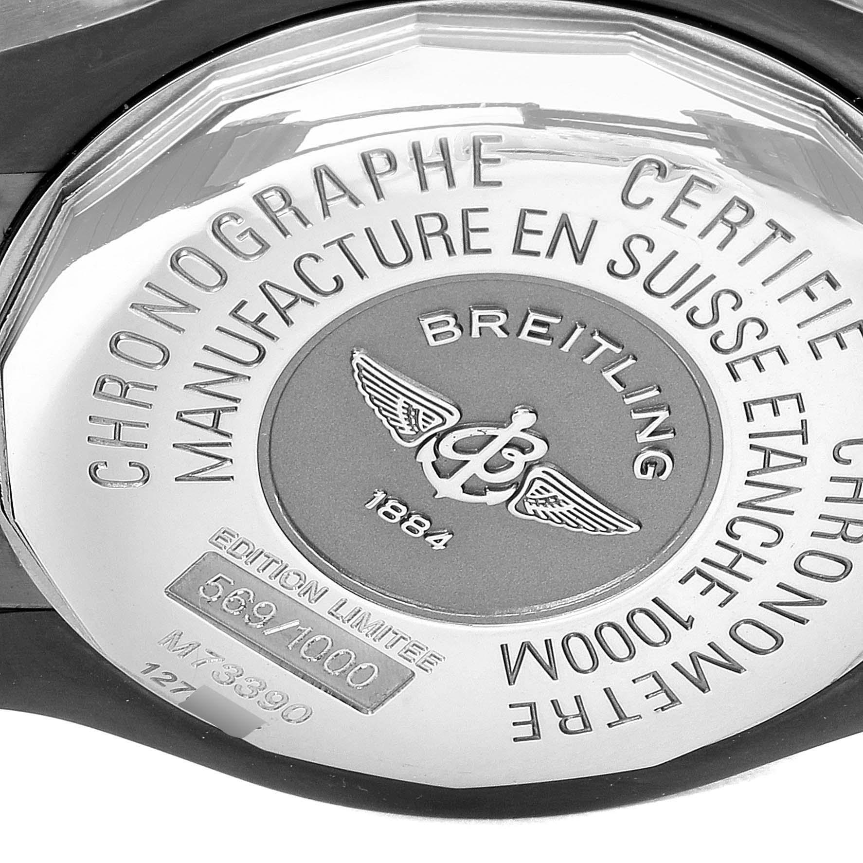 Breitling Avenger Seawolf Blacksteel Chrono Orange Hands Watch M73390 Unworn SwissWatchExpo