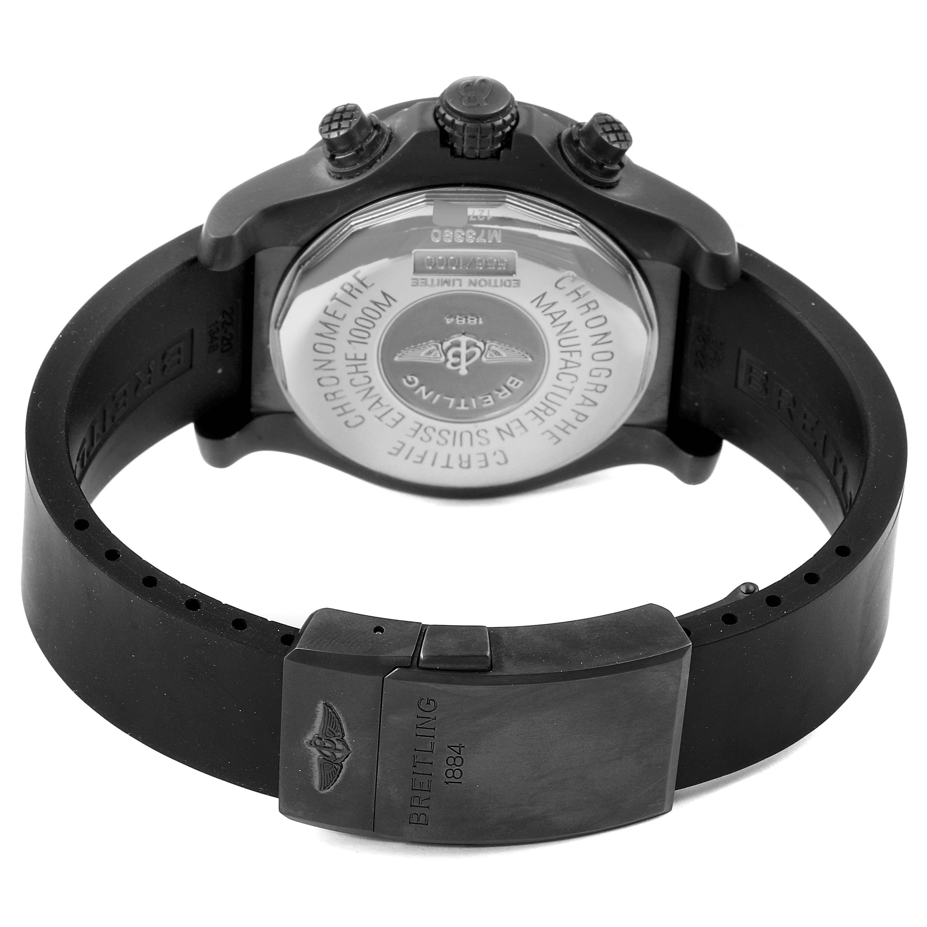 Breitling Avenger Seawolf Blacksteel Chrono Yellow Hands Watch M73390 Unworn SwissWatchExpo