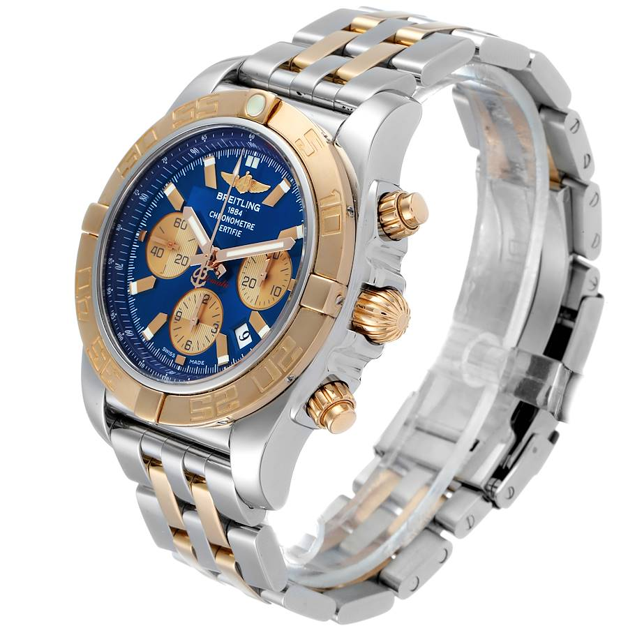 Breitling Chronomat Evolution Steel Rose Gold Mens Watch CB0110 Box Papers SwissWatchExpo
