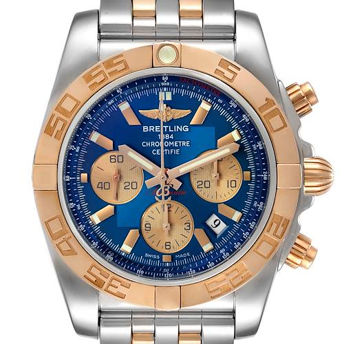 Photo of Breitling Chronomat Evolution Steel Rose Gold Mens Watch CB0110 Box Papers