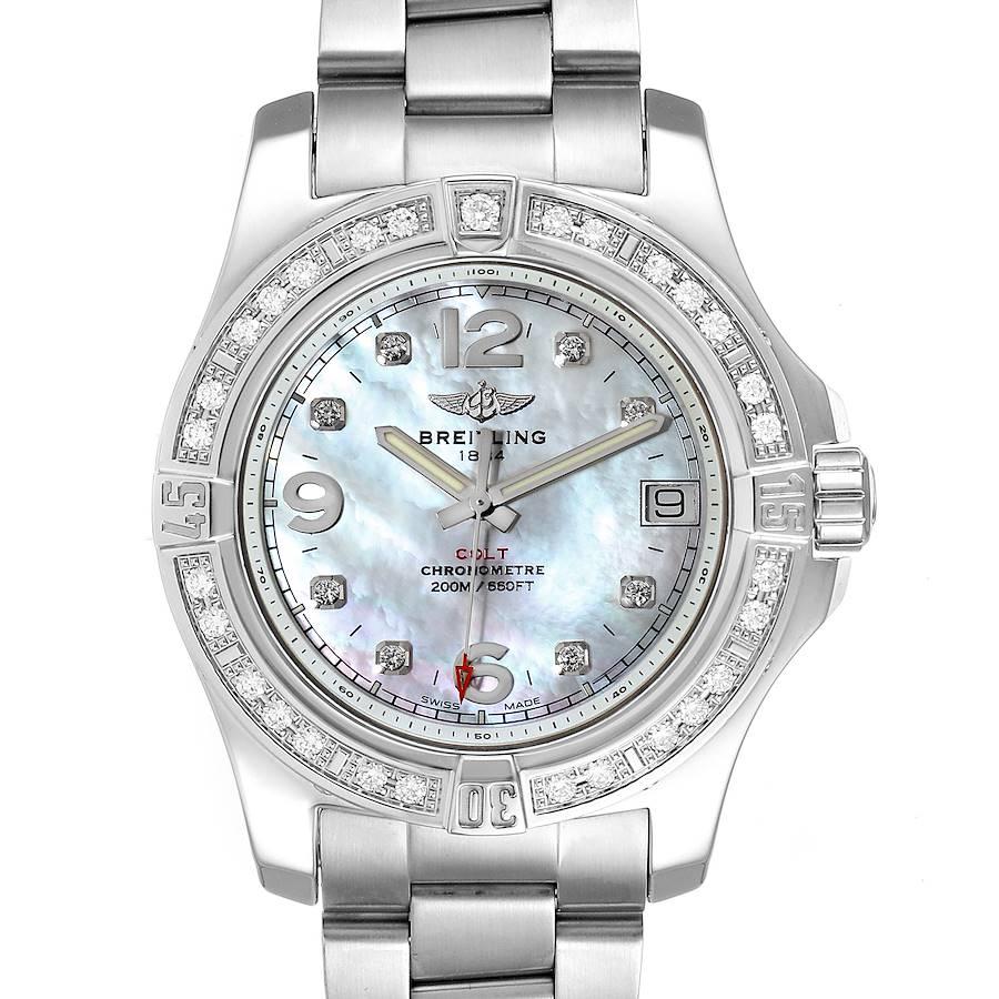 Breitling Colt 36 MOP Diamond Dial Steel Ladies Watch A74389 Unworn SwissWatchExpo