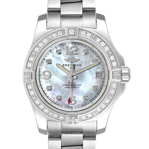 Breitling Colt 36 MOP Diamond Dial Steel Ladies Watch A74389 Unworn