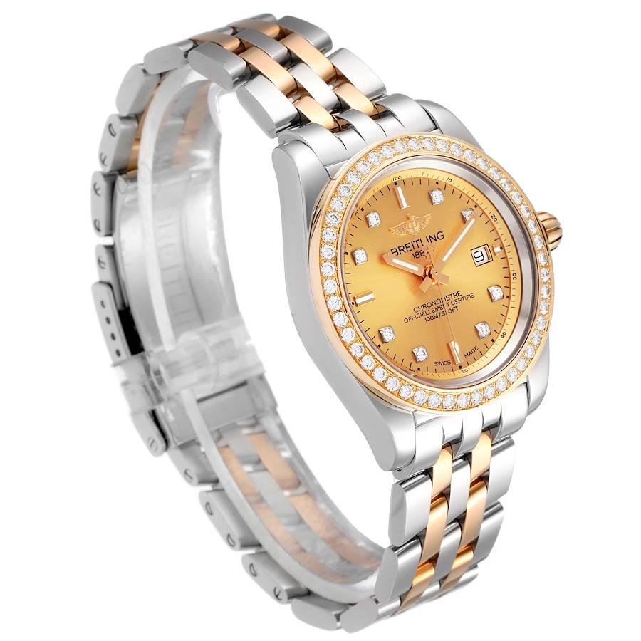 Breitling Galactic 32 Steel Rose Gold Diamond Womens Watch C71330 Box Papers SwissWatchExpo