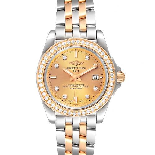 Photo of Breitling Galactic 32 Steel Rose Gold Diamond Womens Watch C71330 Box Papers