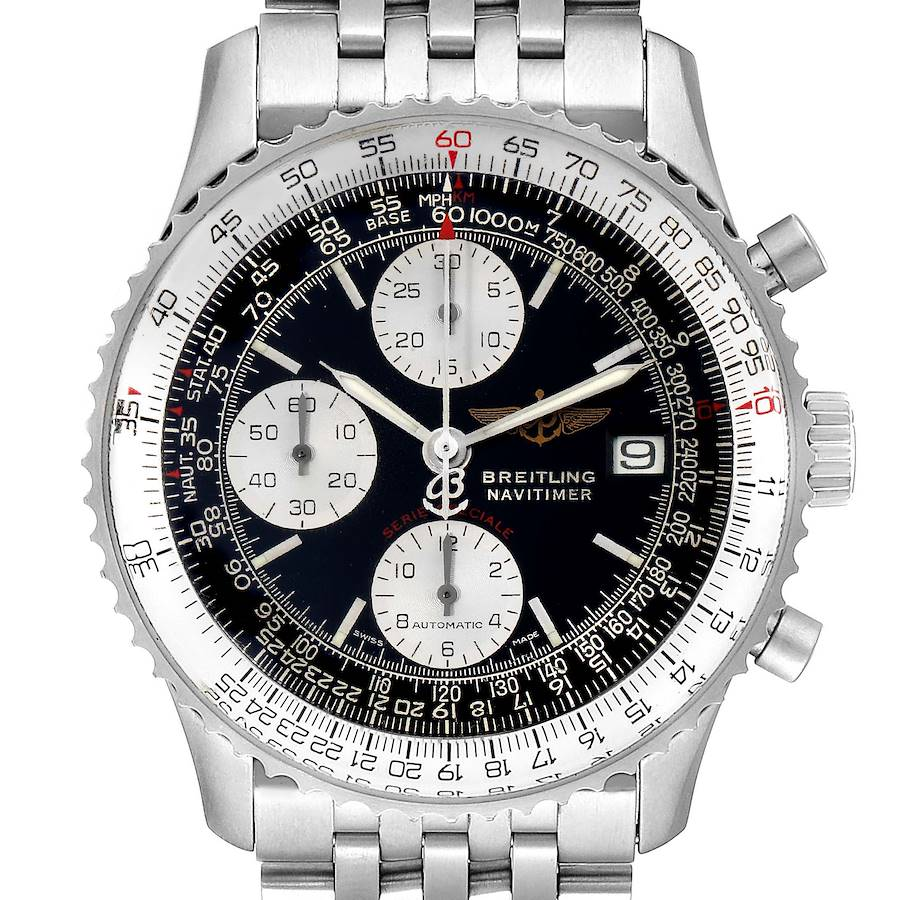Breitling Navitimer Fighter Chronograph Steel Mens Watch A13330 Box Papers SwissWatchExpo