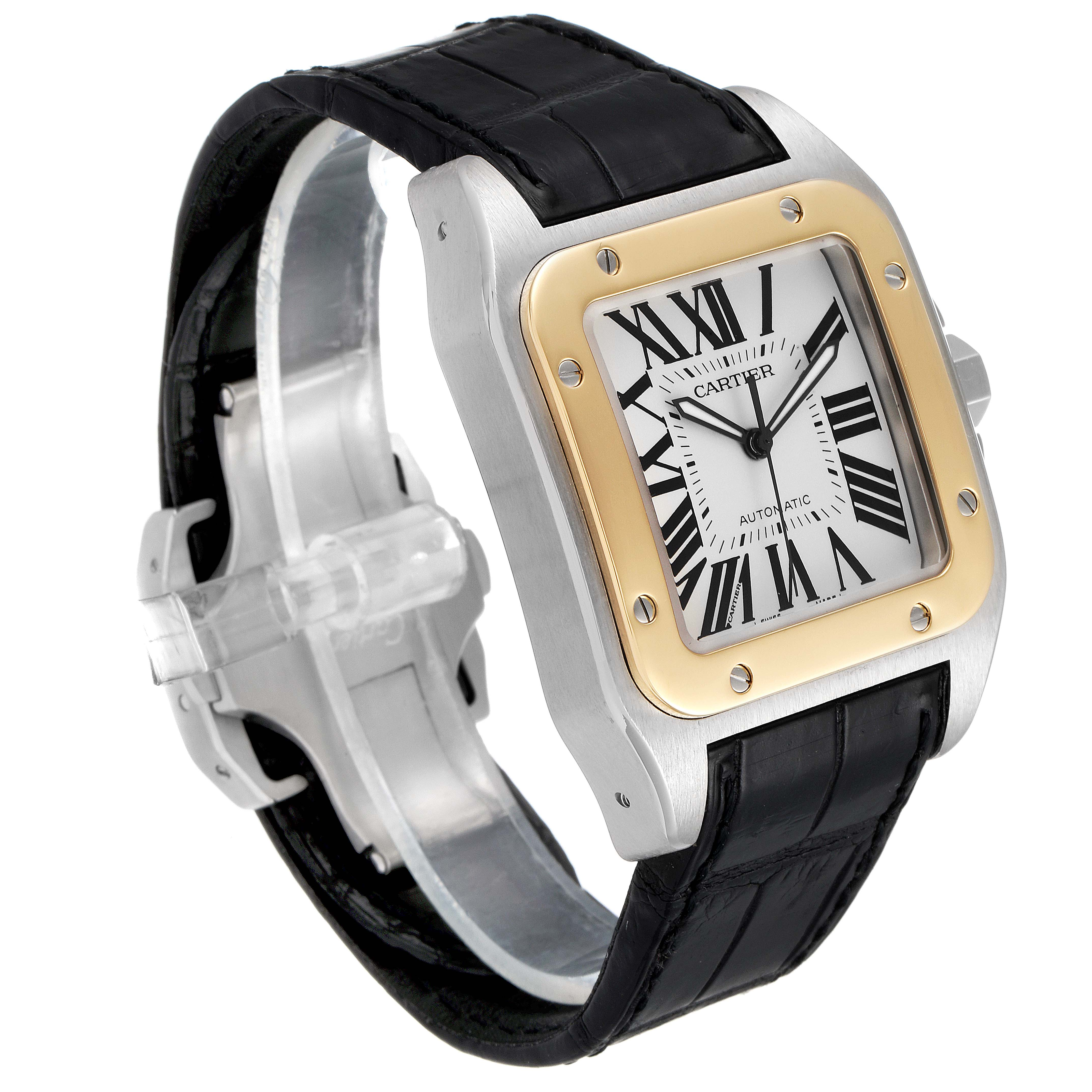 Cartier Santos 100 Steel Yellow Gold 38mm Mens Watch W20072X7 SwissWatchExpo