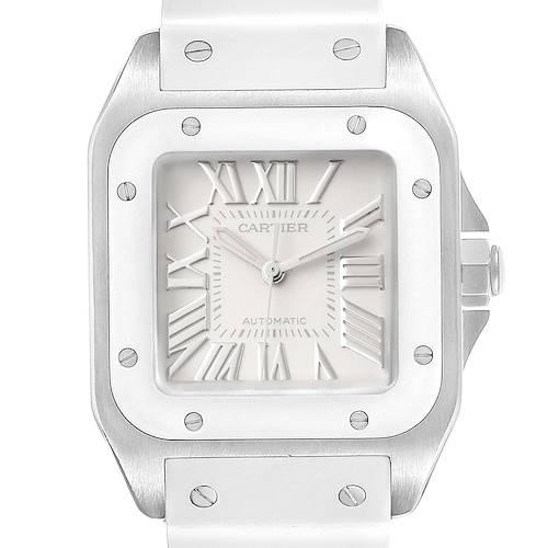 Photo of Cartier Santos 100 White Rubber Strap Steel Ladies Watch W20129U2