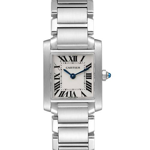 Photo of Cartier Tank Francaise Silver Dial Blue Hands Ladies Watch W51008Q3