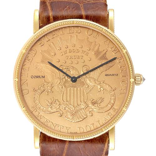 Photo of Corum Coin 20 Dollars Double Eagle Yellow Gold Brown Strap Mens Watch