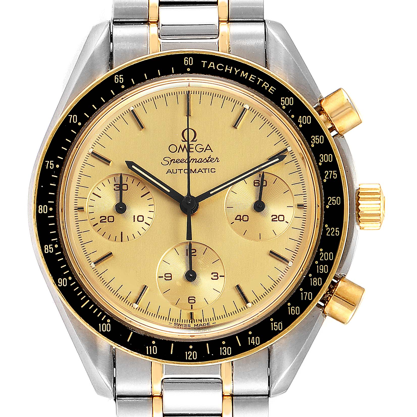 Omega Speedmaster Steel 18K Yellow Gold Automatic Watch 3310.10 SwissWatchExpo