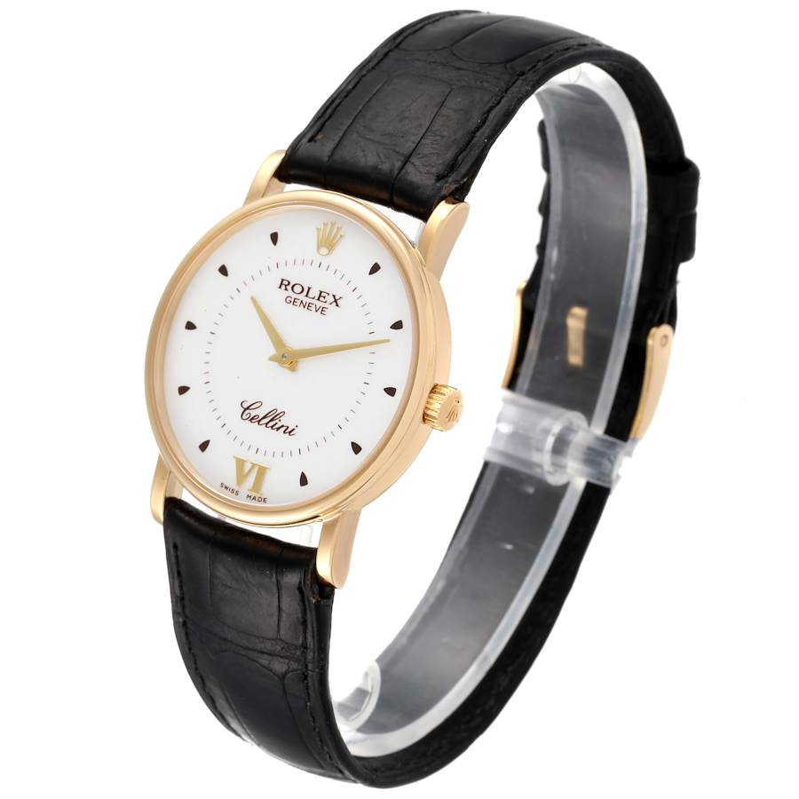 Rolex Cellini Classic Yellow Gold Silver Dial Black Strap Mens Watch 5115 SwissWatchExpo