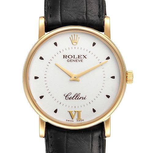 Photo of Rolex Cellini Classic Yellow Gold Silver Dial Black Strap Mens Watch 5115