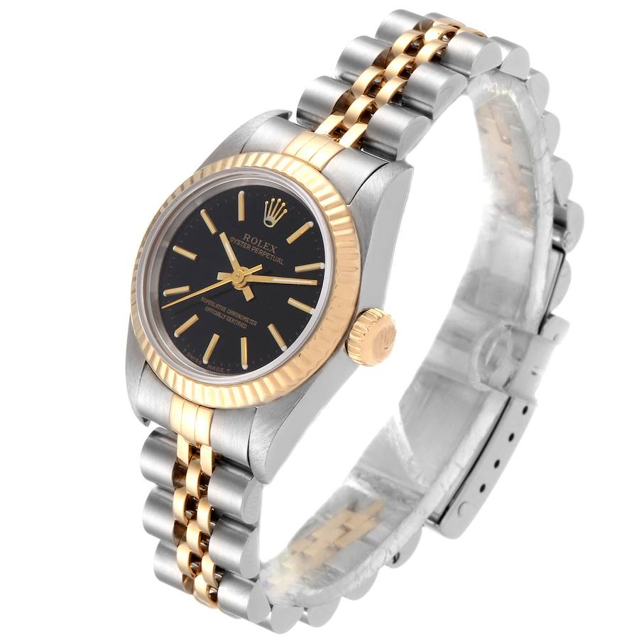 Rolex Oyster Perpetual Fluted Bezel Steel Yellow Gold Ladies Watch 67193 SwissWatchExpo