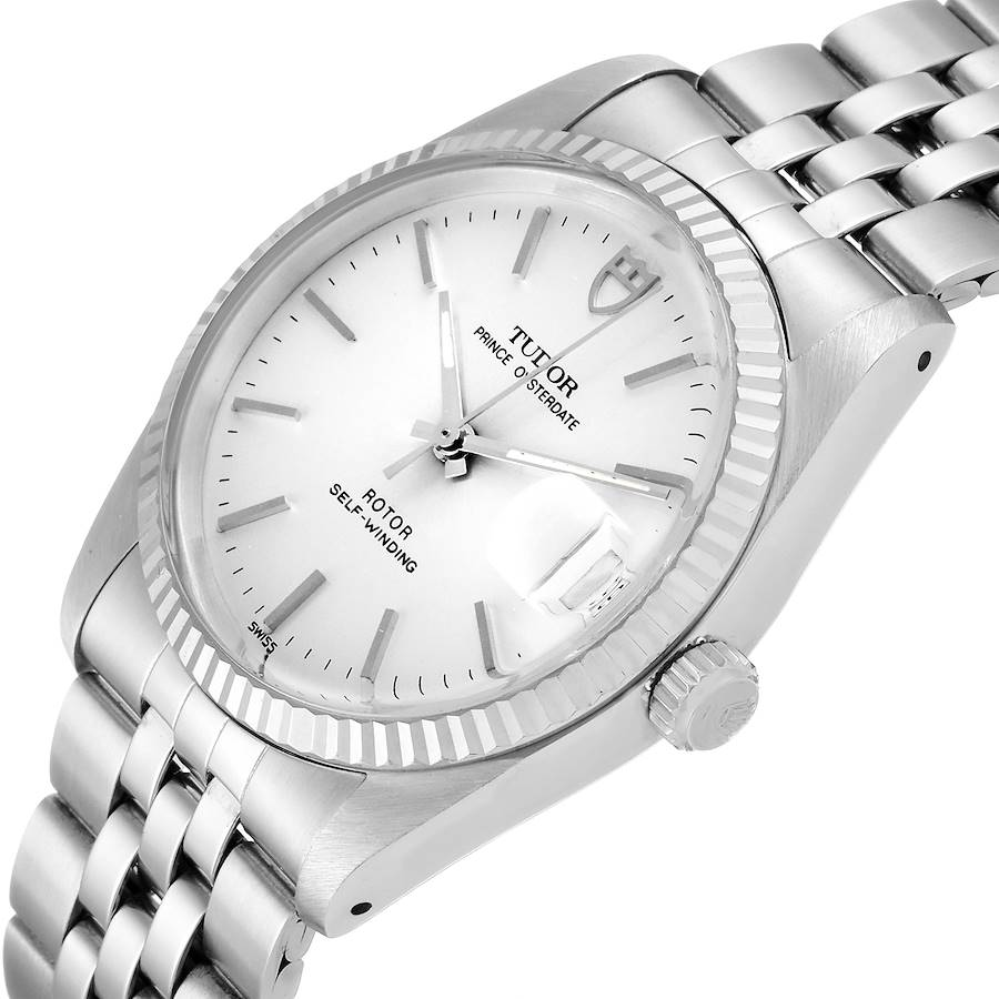 Tudor Prince Date Silver Dial Steel Vintage Mens Watch 74034 Box Tag SwissWatchExpo