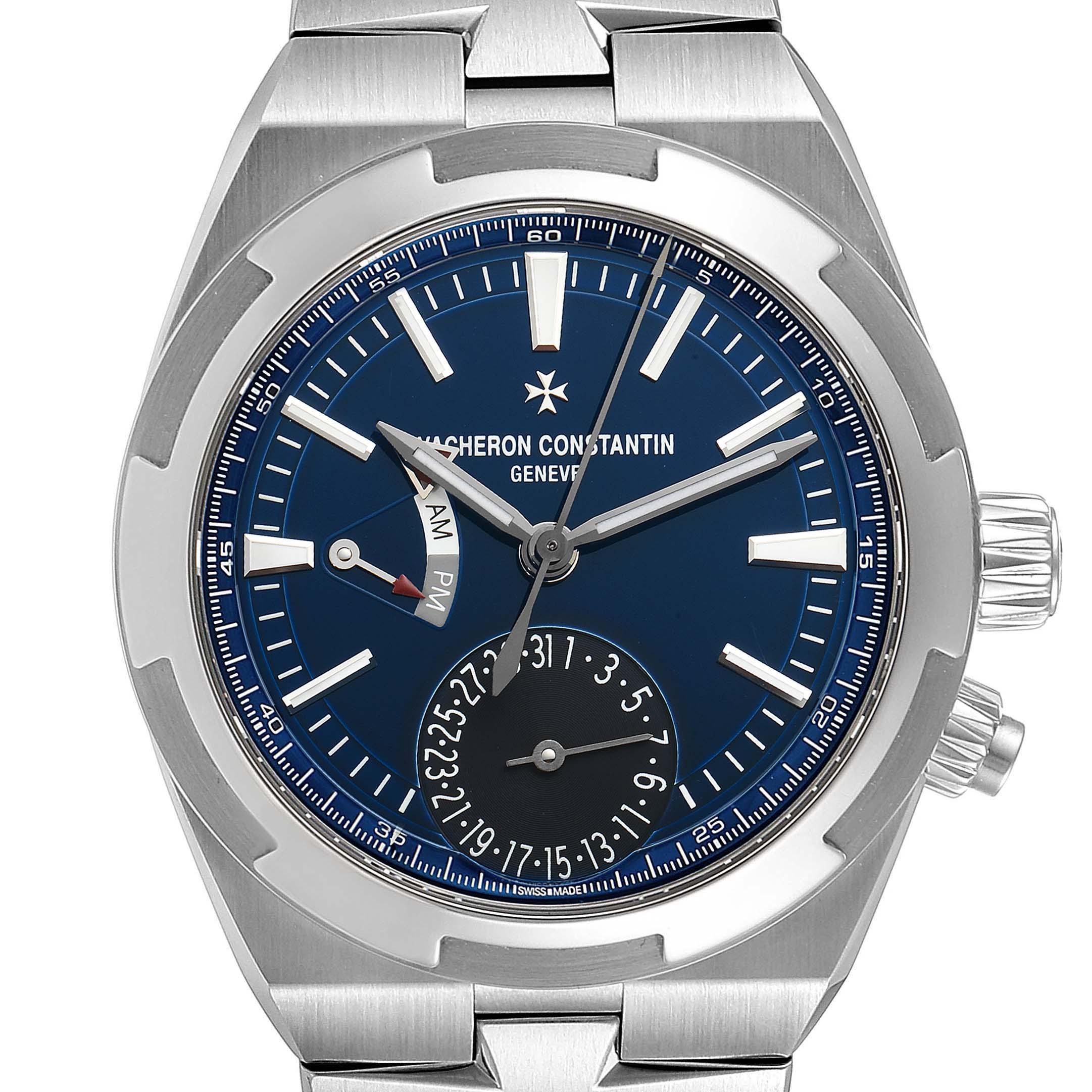 Vacheron Constantin Overseas Dual Time Blue Dial Steel Mens Watch 7900V SwissWatchExpo