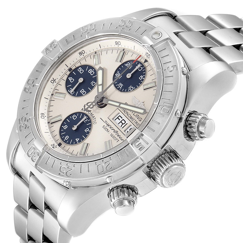 Breitling Superocean Silver Blue Dial Chronograph Mens Watch A13340 SwissWatchExpo