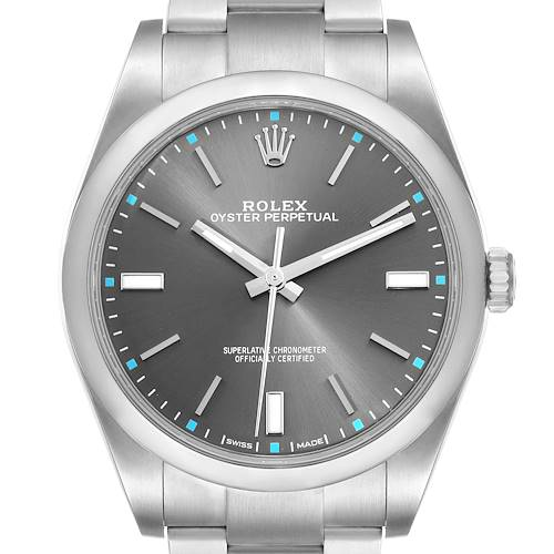 Photo of Rolex Oyster Perpetual 39 Rhodium Dial Steel Mens Watch 114300 Box