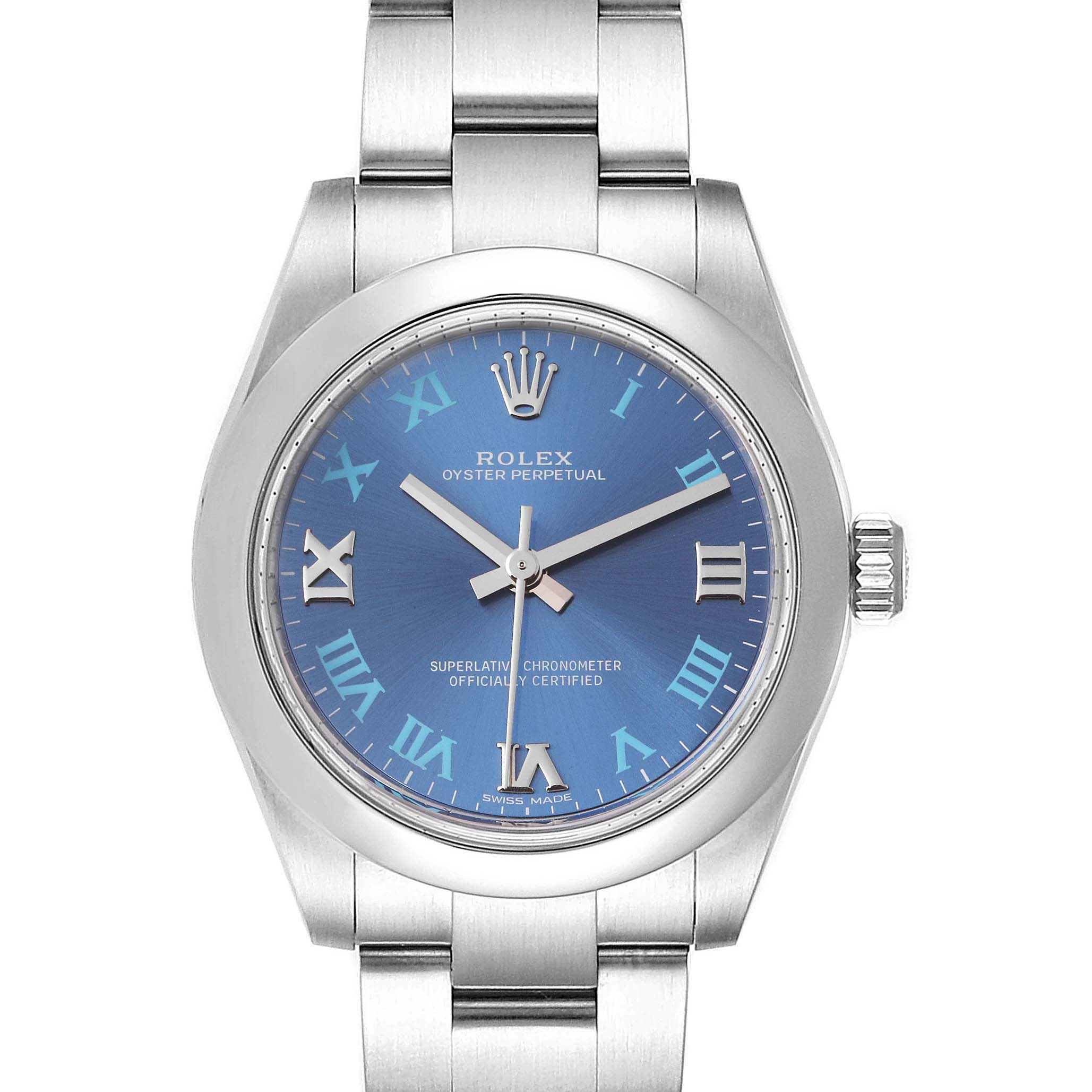 Rolex Oyster Perpetual Midsize 31 Blue Dial Ladies Watch 177200 Box Card