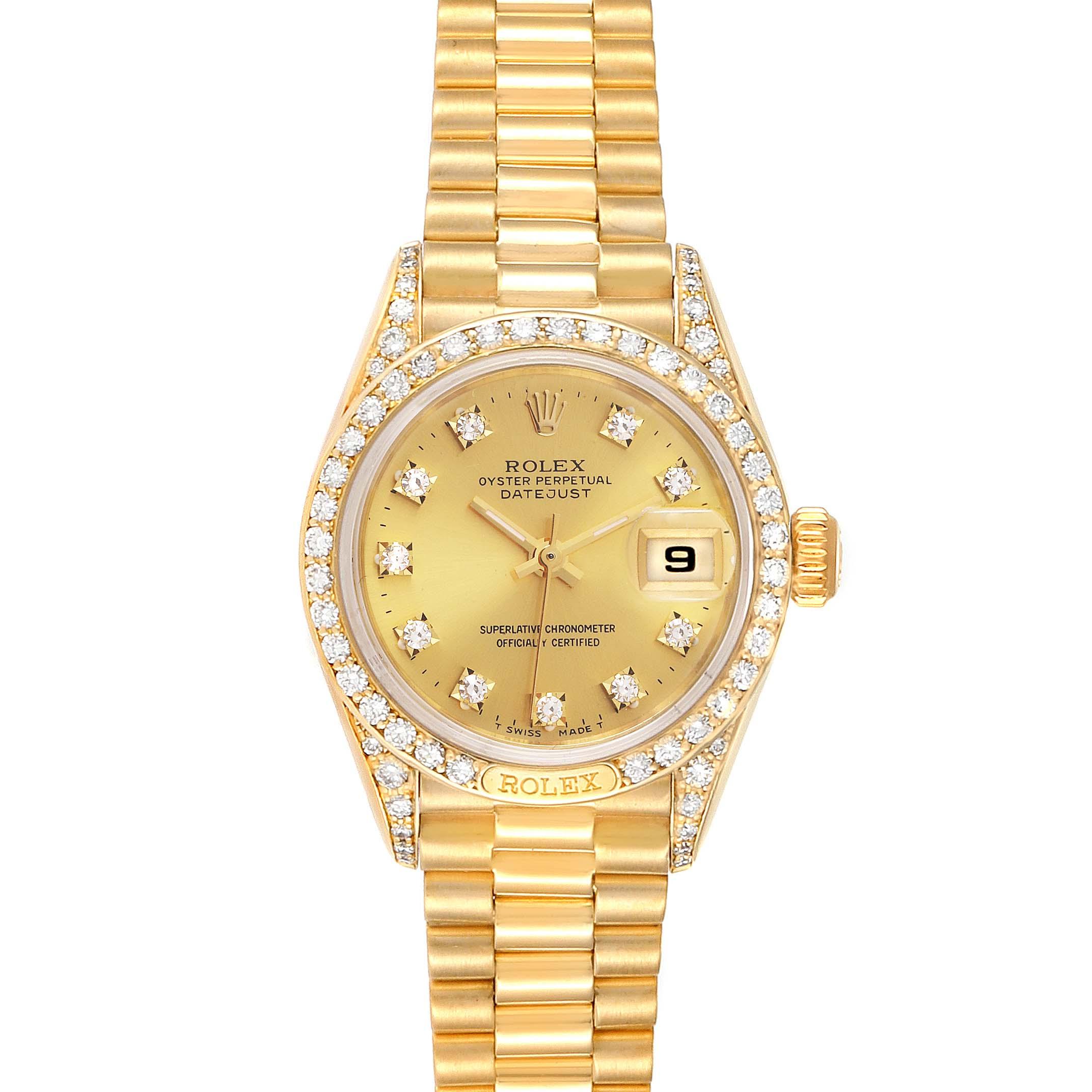 Photo of Rolex President Datejust 26mm Yellow Gold Diamond Ladies Watch 69158