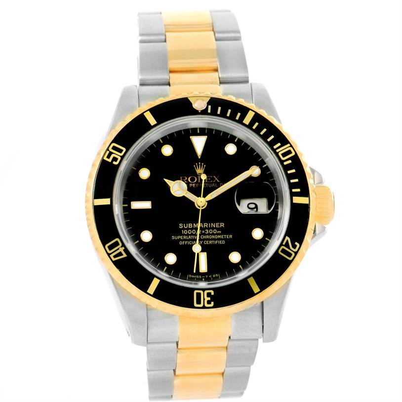Rolex Submariner Steel 18K Yellow Gold Black Dial Mens ...