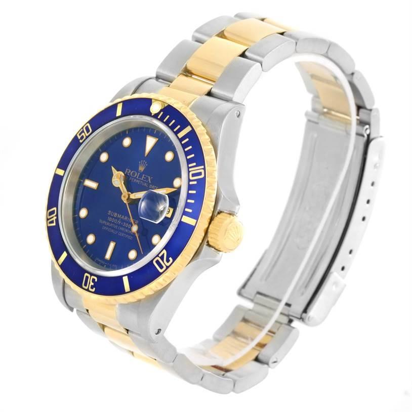 12343 Rolex Submariner Steel 18K Yellow Gold Mens Watch 16613 Box SwissWatchExpo