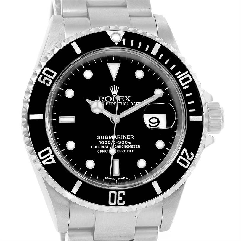 12939 Rolex Submariner Stainless Steel Black Dial Mens Watch 16610 SwissWatchExpo