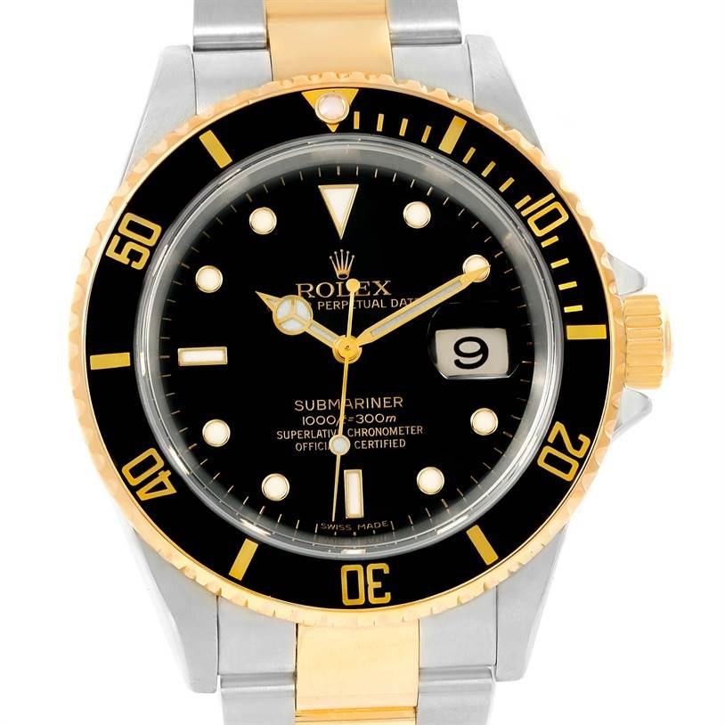 rolex submariner steel 18k yellow gold black mens