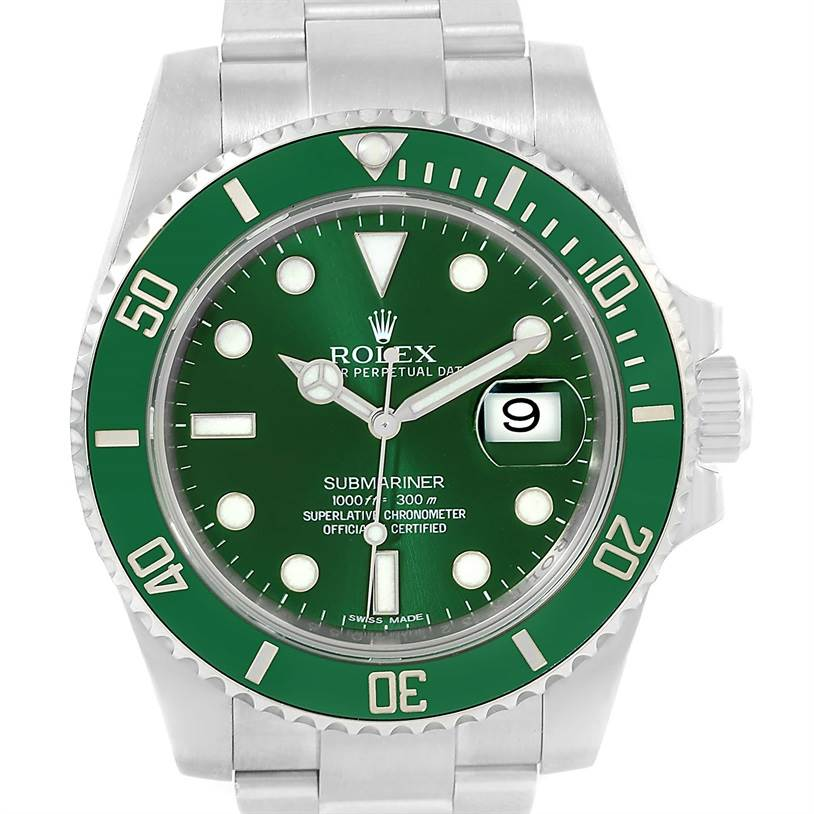 Rolex Submariner Hulk Green Dial Steel Mens Watch 116610lv Box Papers