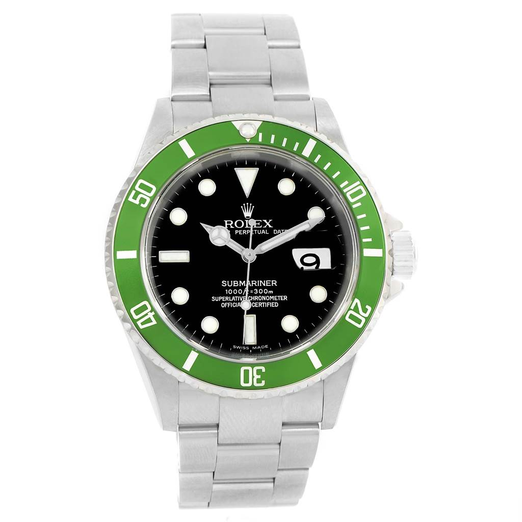 rolex submariner green bezel 50th anniversary flat 4 watch 16610lv. Black Bedroom Furniture Sets. Home Design Ideas