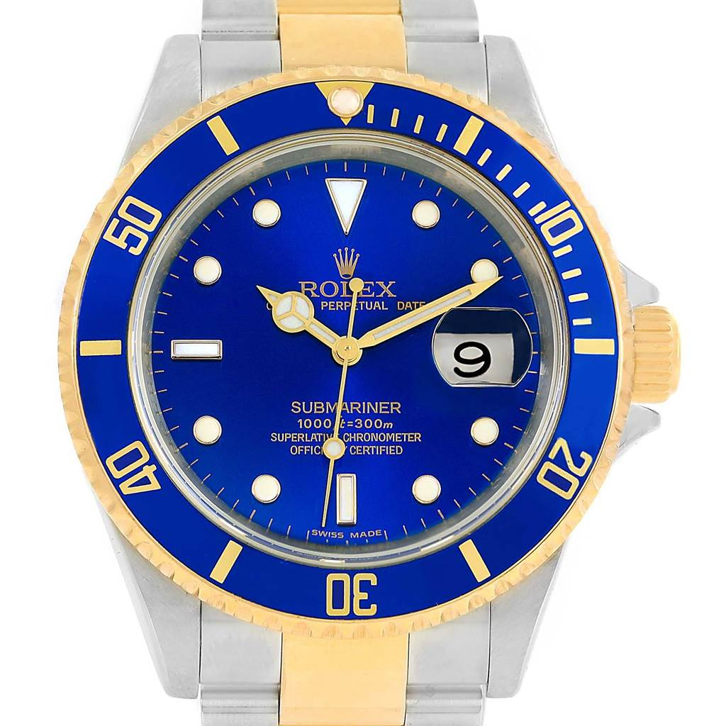 14286 Rolex Submariner Steel 18K Yellow Gold Blue Dial Watch 16613 Year 2008 SwissWatchExpo