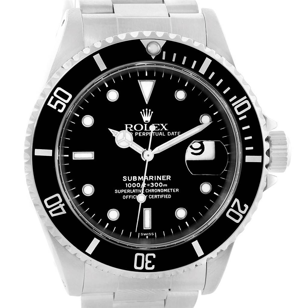 831d67319733 ... 14449 Rolex Submariner Steel Black Dial Oyster Bracelet Mens Watch 16610  SwissWatchExpo ...