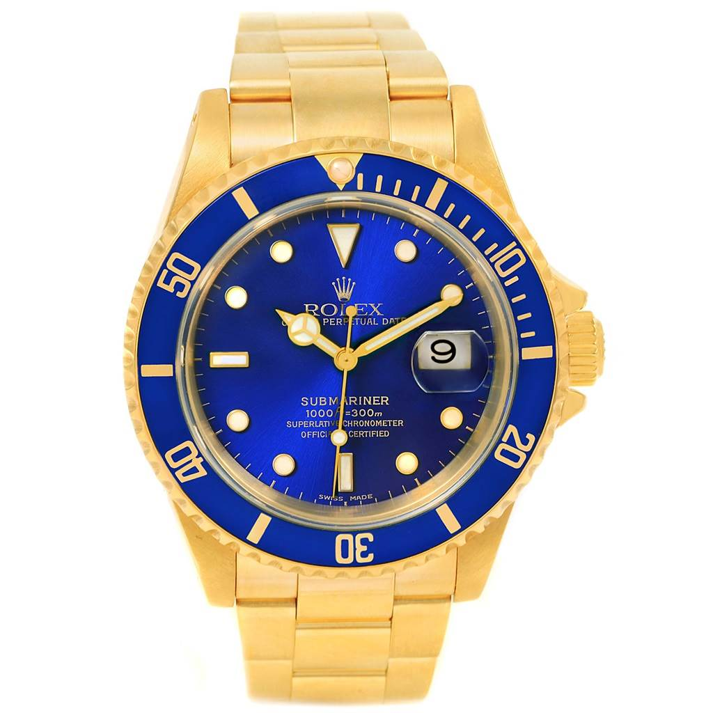 14765p rolex submariner 18k yellow gold blue dial mens watch 16618 swisswatchexpo