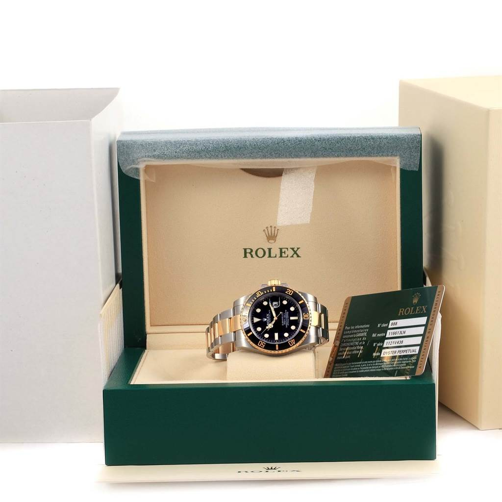 14528 Rolex Submariner Steel 18K Yellow Gold Mens Watch 116613 Box Papers SwissWatchExpo