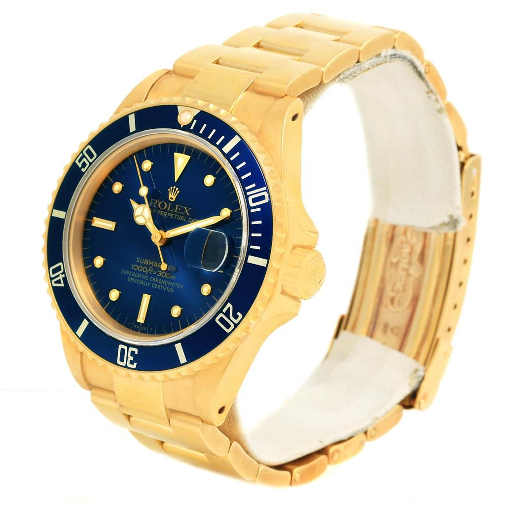 14800P Rolex Submariner 18K Yellow Gold Blue Dial Mens Watch 16808 SwissWatchExpo