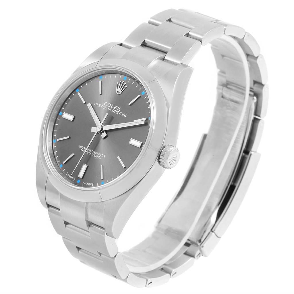 14888P Rolex Oyster Perpetual 39 Rhodium Dial Mens Watch 114300 Unworn SwissWatchExpo