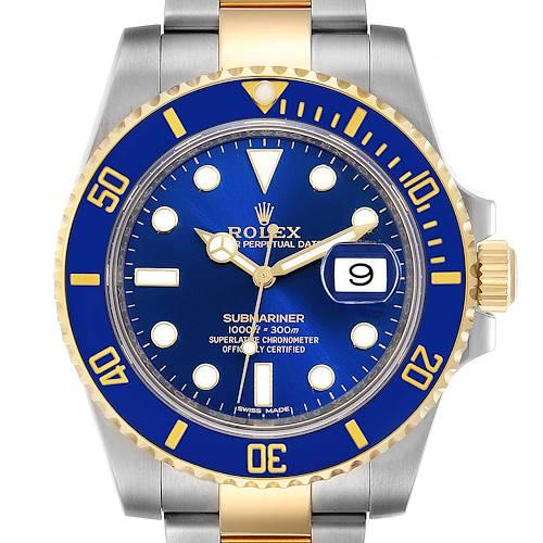 Photo of Rolex Submariner Steel 18K Yellow Gold Blue Dial Watch 116613 Unworn