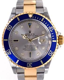 Photo of Rolex Blue Submariner Factory Slate Serti Dial 16613