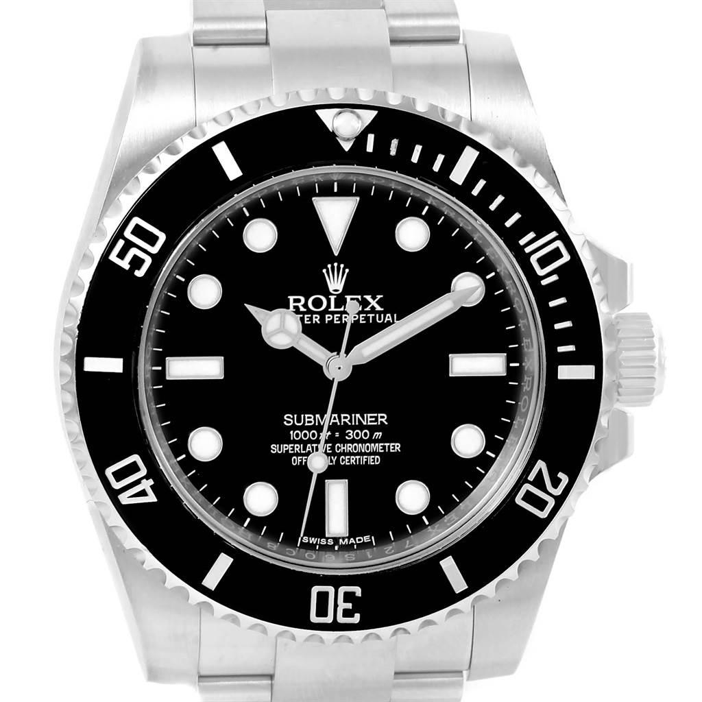 Rolex Submariner Non Date Mens Steel Black Dial Watch 114060 Unworn