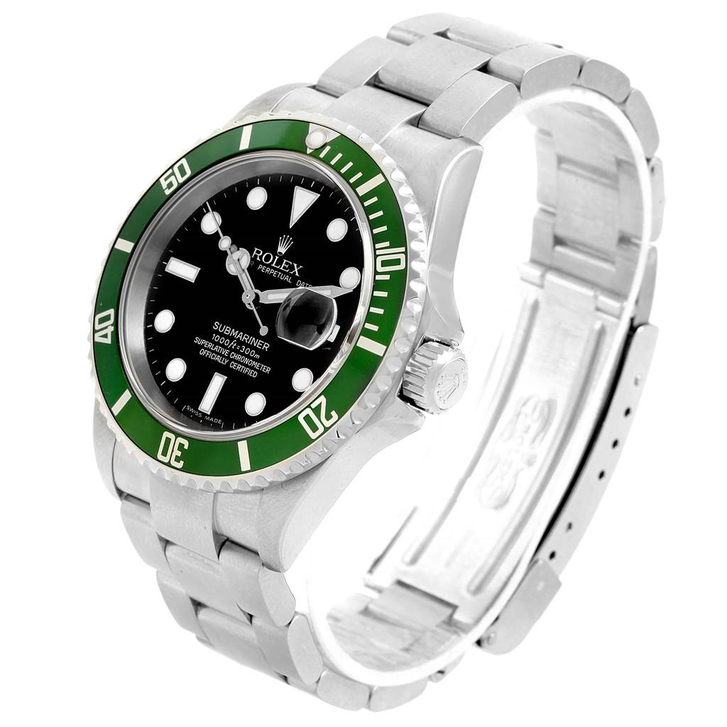 rolex submariner 50th anniversary kermit green bezel mens watch 16610lv. Black Bedroom Furniture Sets. Home Design Ideas