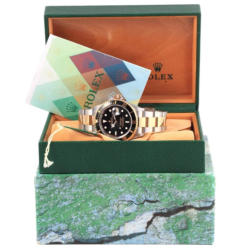 17254 Rolex Submariner Steel Yellow Gold Black Dial Watch 16613 Box Papers SwissWatchExpo