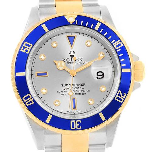 Photo of Rolex Submariner Steel Gold Slate Diamond Sapphire Serti Dial Watch 16613