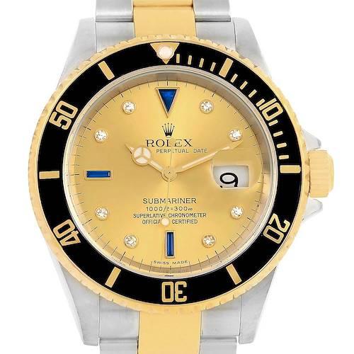 Photo of Rolex Submariner Steel Gold Diamond Sapphire Serti Dial Watch 16613