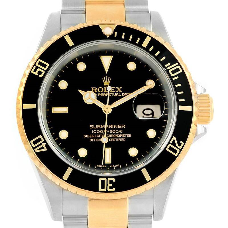Rolex Submariner Steel Yellow Gold Mens Watch 16613 Box Papers SwissWatchExpo