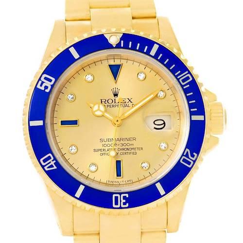 Photo of Rolex Submariner Yellow Gold Diamond Sapphire Serti Dial Watch 16618