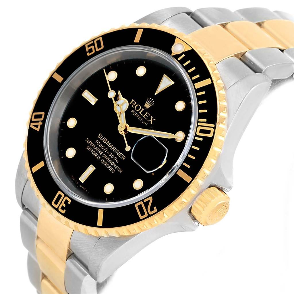 Rolex Submariner Two Tone Steel Yellow Gold Black Dial Watch 16613 SwissWatchExpo